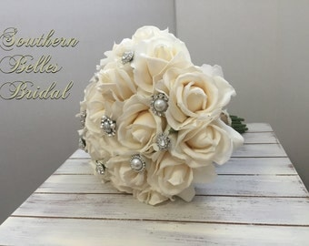 Ivory Rose Wedding Bouquet with Real Touch Roses and Pearl and Rhinestone Brooches