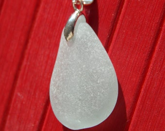 Glassqua white sea glass pendant