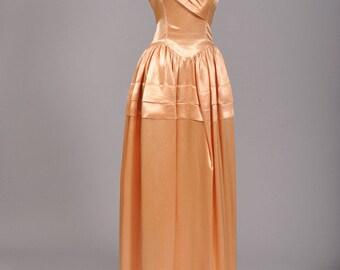 1950 Peach Liquid Silk Vintage Wedding Gown