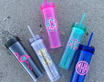 Skinny Tumbler with Lilly Pulitzer Inspired 16 oz BPA free acrylic Bachelorette Bridal party Personalized Tumbler  Bridesmaid Gift