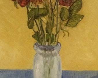 Signed Original Oil Painting Flowers