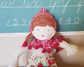 Woodland Fabric Doll with Red Hood and Cape