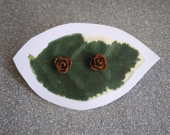 Brown Rose Post Earrings Surgical Steel