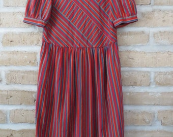 Neiman Marcus Vintage Designer Striped Dress with Puff Sleeves