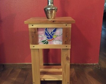 wood table with stained glass insert