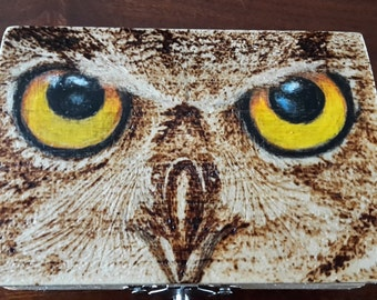 Wooden box, JEWELRY HOLDERS, hand-decorated, pyrography eyes of OWL, coloured