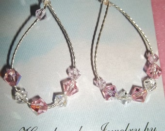 Pink Twisted Wire Earrings