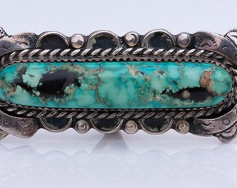 Spectacular Oblong Vintage 1970s Southwestern Turquoise and Silver Ring