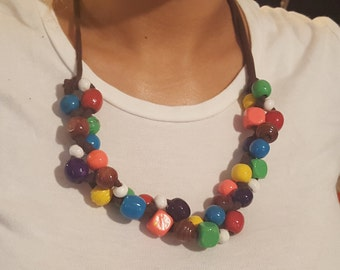 Handmade fabric and bead necklace multi-colored