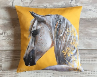 Yellow horse South square cushion