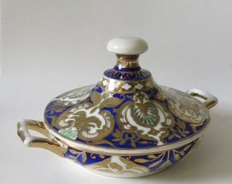 Vintage Japanese Noritake Maruki/Komaru Porcelain Two Handled Sugar Bowl, Hand-Painted with Cobalt Blue and Raised Gold Design