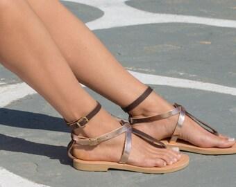 Sandals,Greek sandals,Leather sandals,Handmade sandals,Rose gold and brown,Women shoes,Triskelion,CLEOPATRA