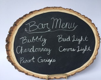 Wood Slice Chalkboard Sign