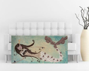 Mermaid art painting original wall decor textured impasto aqua 48x24