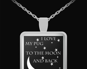 Pug Stars and Moon Necklace