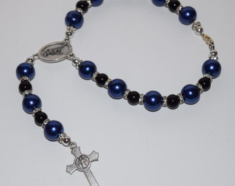 Law Enforcement Unit Rosary, Vehicle Rosary, Rear View Rosary, Police Office Rosary, Thin Blue Line Rosary, LEO Family Rosary, pandmcrafts
