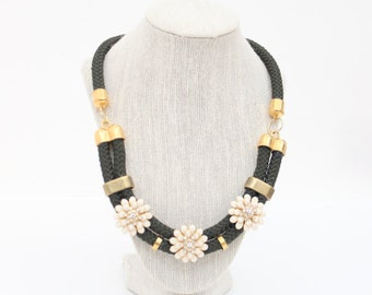 Mexican Gold Marigolds Statement  Necklace