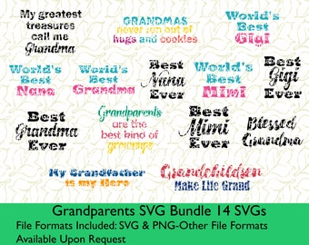 Grandparents SVG Bundle SVG and PNG files for Cutting Machines Silhouette Cameo Designer Edition or Cricut svg files Grandparent svg