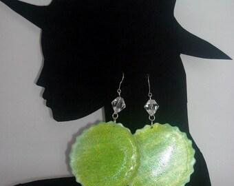 orecchini verdi cerchio - green circle earrings