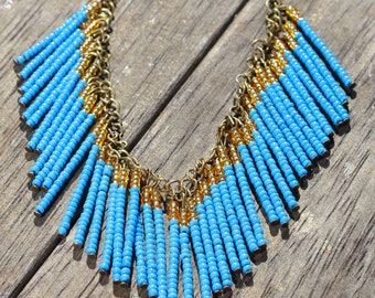 Bohemian blue and gold beaded necklace