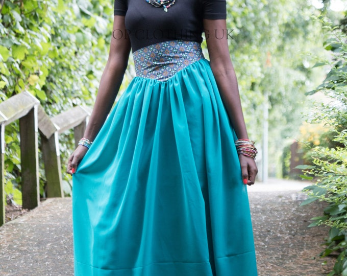 chiffon skirt, brown skirt, casual skirt, straight skirt, Long Ankara Skirt, skirt with African fabric