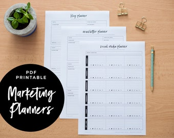 Marketing Suite - Blog Planner, Newsletter Planner and Social Media Planner, PDF Printable