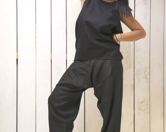 Harem Pants, Black Linen Pants, Womens Pants, Loose Fit Pants, Drop Crotch Pants, Loose Pants, Casual Pants, Black Trousers, Harem Trousers