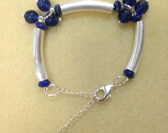 square silver tube bracelet