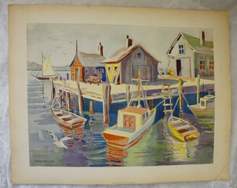 David Foster, Bernard Goldsmith, 1950s Color Nautical Lithograph, Housewarming Gift, Nautical Home Decor