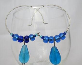 beaded hoop earrings, blue