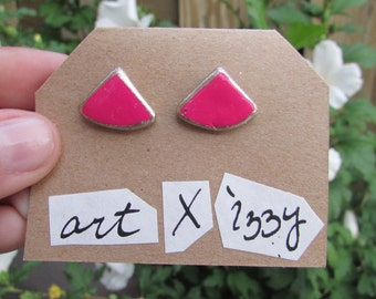 Hand-crafted stud earrings, magenta and gold-trimmed polymer clay studs