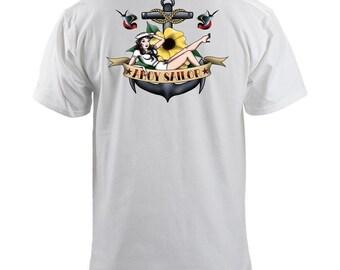 Navy Ahoy Sailor Girl Tattoo T-Shirt