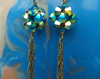 Swarovski Crystal Ball and Dangly Chain Earrings