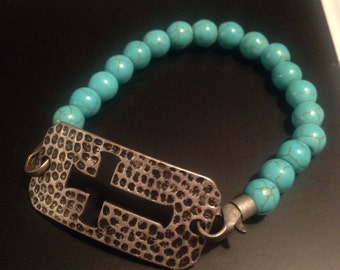 Amore Vita Boutique Cross Turquoise Bracelet