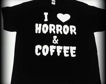 Coffee Shirt, Coffee Clothing, I Love Horror and Coffee t-shirt, Coffee tshirt, Horror shirt, Horror Clothing, S, M, L, XL