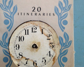 Vintage CLOCK FACE * tiny Paper Clock face * Clock Gears and Springs * Steampunk Gears * Industrial Salvage * Art Assemblage PARTS* Clock