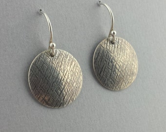 Dangle Earrings, Domed Earrings, Sterling Silver, Roller Mill Patterned, Oxidized, Round, Handmade, Ready to Ship