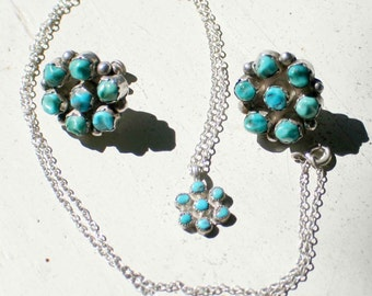 Old Pawn Hand Crafted Turquoise and Silver Necklace/Earrings