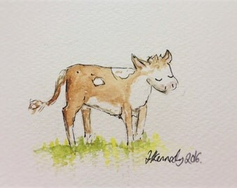 Baby Cow (Calf) Print of Watercolour Painting