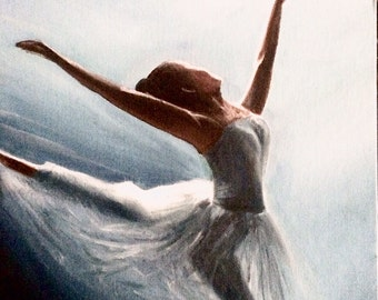 """Ballerina Oil Painting, """"Touch the Sky"""", Oil Painting Ballet, 14""""x11"""""""