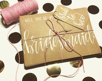 Will You Be My Bridesmaid? Hand lettered custom cards