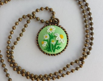 Floral Necklace Camomiler Pendant Polymer clay embroidery Gift for her Floral Camomile jewelry