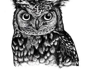 Great Horned Owl A5 Digital Print