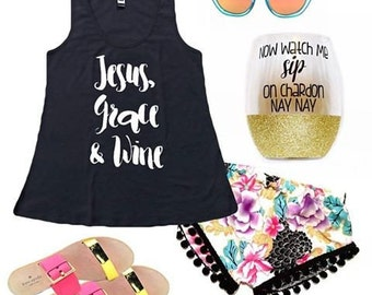 Womens Tops-Womens Tanks-Womens Tank Tops-Religious Tshirts-Womens Shirts-Jesus, Grace & Custom Choice-Mommy LaDy Club Mama Soul Collection