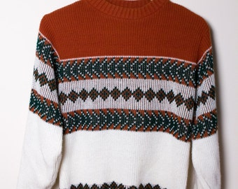 Brown Patterned Ski Sweater (Small)