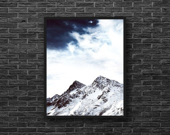 Mountain Photography - Snowy Mountains Photo - Northern Landscape - Nature Photography - Vertical - Mountain Wall Art - Winter Wall Decor