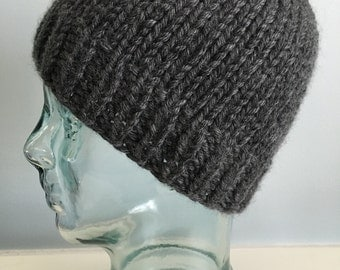 Chunky Knit Gray Wool Beanie / Hat / Toque