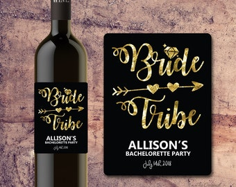 BRIDE TRIBE WINE Bottle Label - Bachelorette Party Wine Label Gift, Invite, Favor, Faux Gold