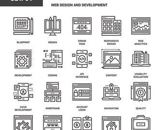 Web Design and Development Flat Line Web Icons