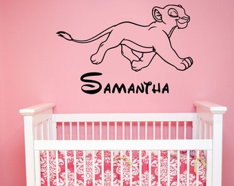 Lion King Wall Decal Custom Name Nala Vinyl Sticker Disney Art Decorations for Home Girls Room Bedroom Nursery Personalized Decor ling16